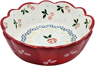 ZGQA-GQA 6 Inch Bowl Ceramics Red Lace Pasta Salad Pudding Dessert Baby Food Supplement Retro Household Tableware