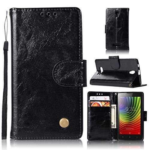 RONGCHAO Tasche für Mobiltelefon for Lenovo A2010 Retro Kupfer Knopf Crazy Horse Horizontal Flip PU-Leder-Kasten mit Halter und Card Slots und Wallet und Lanyard (weinrot) Shell Cover (Farbe : Black)