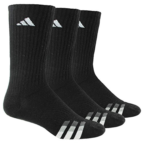 adidas Men's Cushioned Crew Socks (3-Pack), Black/White/Light Onix/Granite, Large: fits shoe size 6-12