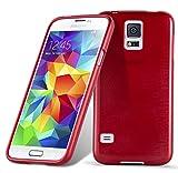 Cadorabo Coque pour Samsung Galaxy S5 / S5 Neo en Rouge Cerise – Housse Protection Souple en Silicone TPU avec Anti–Choc et Anti–Rayures – Ultra Slim Fin Gel Case Cover Bumper