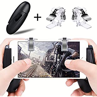 PUBG Mobile Game Controllers Gamepad Qoosea Sensitive Shoot Aim Joysticks Physical Buttons L1R1 Ergonomic Design Handgrip Game Triggers for Knives Out/PUBG/Rules of Survival for all 4.5-6.5inch Android IOS (1Pair Trigger+ Grip)