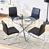 STYLIFING Dining Table and Chairs Set Round Clear Glass Top Crisscrossing Chrome Metal Legs Kitchen Table and 4 Sled Based Black Faux Leather Chairs Dining Set Home Kitchen Office Waiting Room Use