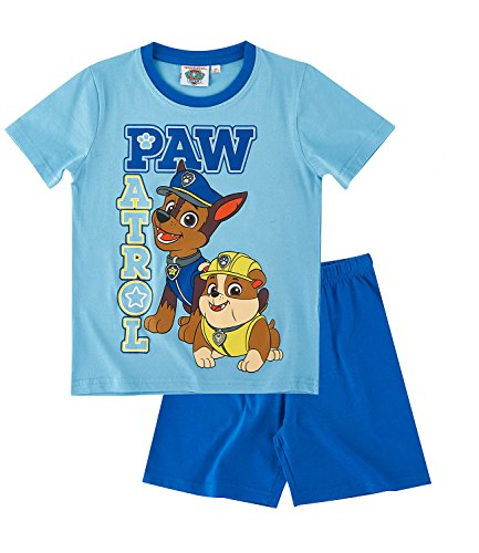 Paw Patrol - Pijama oficial de manga corta y pantalones cortos para niños – 2 – 8 años Azul azul Talla 6 UK-5-6 años