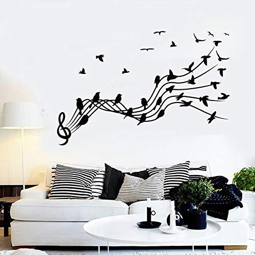 HGFDHG Calcomanía de Pared con partitura Musical, patrón de pájaro y Flor, Clave de Sol, Nota Musical, Dormitorio, Arte Interior, Vinilo, Adhesivo para Pared, Mural