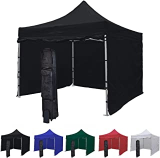 Vispronet 10x10 Instant Canopy Tent and 4 Side Walls – Commercial-Grade Aluminum Frame – Water Resistant and Flame-Retardant Canopy Top and Sidewalls – Includes Canopy Bag and Stake Kit (Black)