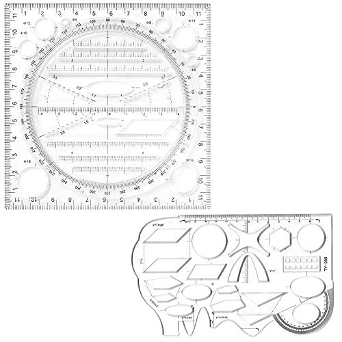 Multifunktionales Zeichenlineal 2PCS, Mehrzweckzeichnung 360° Rotationsmessvorlage Ersetzen Lineal Geodreieck Kreislineal Radienlehre Winkelmesser, Rutschfestes Geometrie Schablone für Schule