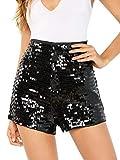 Verdusa Women's High Waist Sequin Zip Up Glitter Clubwear Shorts Black XXL