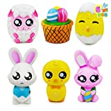 6 Pcs Easter Squishy Toys for Easter Eggs Hunt, Easter Novelty Toys Kids Party Favor, Easter Stress Relief Toy, Easter Basket Stuffers Fillers, Easter Classroom Prize Supplies