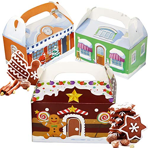 Lulu Home 24 Pieces Christmas Treat Boxes, 3D Xmas House Cardboard for Gifts and Candy, Holiday Party Favor Supplies Candy and Cookies Boxes