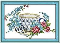 クロス ステッチ DIY 手作り刺繍キット 正確な図柄印刷クロスステッチ 家庭刺繍装飾品 エレガントなコーヒーカップ 40x50cm