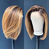 Ombre Color 4/27 Lace Front Wigs Human Hair For Women Short Bob 13x6 Deep Part Lace Front Human Hair Wigs Pre Plucked Density 150% (10inch) …