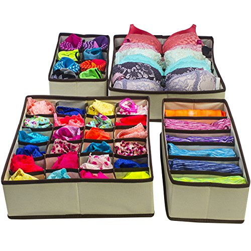Set of 4 Foldable Storage Under Bed Organizer Boxes