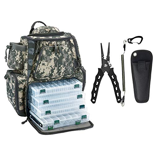 Piscifun Fishing Tackle Backpack Digital Camouflage Backpack with 4 Trays Bundle with SXP Fishing Pliers Black Handle - Straight Nose