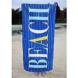 The Royal Standard Microfiber Beach Towel 34x70, Walton Royal/Aruba Blue/Yellow