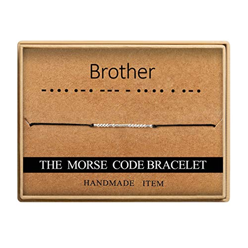 Ldurian Brother Morse Code Bracelet Secret Message Cuff Bracelet Engagement Gift with Gift Box