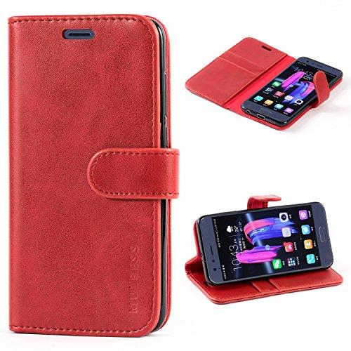 Mulbess Handyhülle für Huawei Honor 9 Hülle Leder, Honor 9 Handy Hüllen, Vintage Flip Handytasche Schutzhülle für Huawei Honor 9 Case, Wein Rot