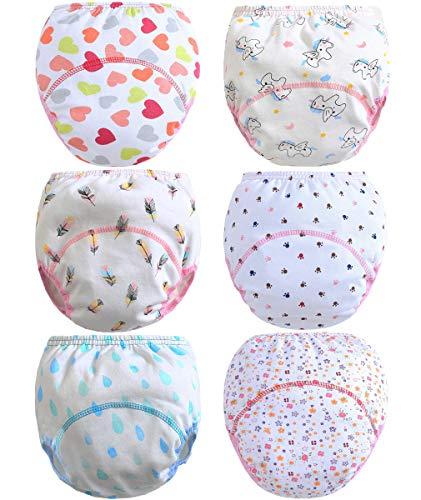 Ceguimos 6er Pack Baby Mädchen Lernwindel Trainerhosen Unterwäsche zum Sauberwerden, Gr. 86/92 (Herstellergröße 90)