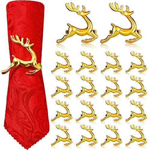 WILLBOND Hirsch Serviettenringe Weihnachten Serviettenringe Halter Rentier Servietten Schnalle für Feiertag Abendessen Partys, Hochzeit Schmuck, Tischdekoration Zubehör (Gold, 18 Stücke)