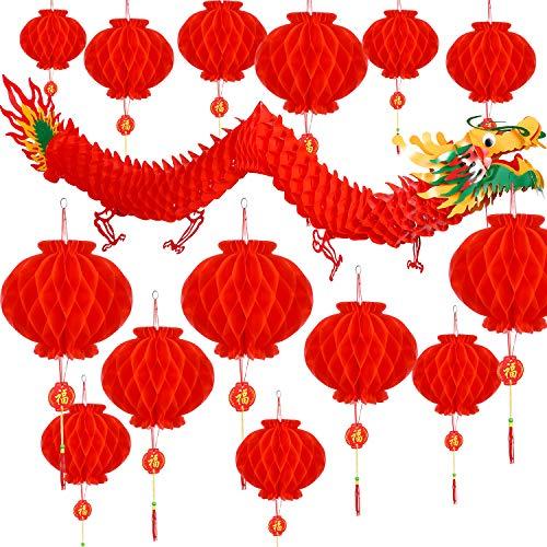Bememo 21 Stücke Chinesisches Neujahr Drachen und Chinesische Rote Laternen Dekoration für Chinesische Frühlingsfest Neujahr Hochzeit