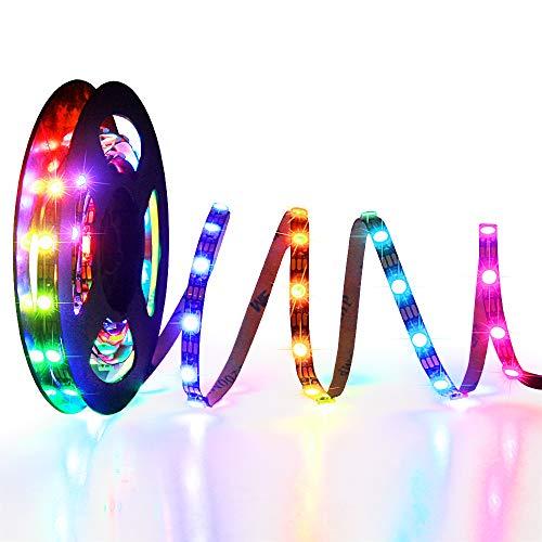 Alive WS2812B LED-Streifen, 5 mm Breite, super schmaler RGB, Adressierbar, LED-Lichtband, 120 LEDs, programmierbar, Dreamfarben, digital, 5 V, für Arduino Raspberry Pi PC-Gehäuse