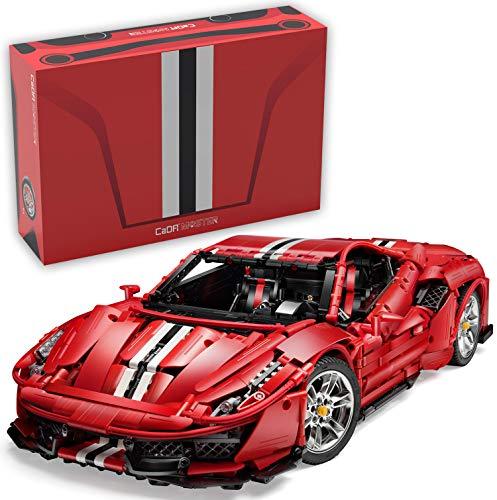 Coche Italian Super Car 1:8, Rojo, 8 Cilindros, 3236 Piezas (sin Motor, Compatible con Lego Technic), C61043W CaDA Master, diseñador Bruno Jenson