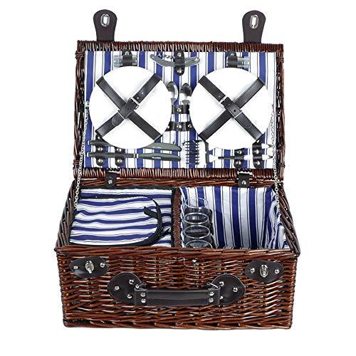 Bolsa de picnic Willow gran cesta de picnic con Service Set for 4 personas, mimbre natural de picnic Cesta de picnic con comida gratis nevera de picnic Cesta de almacenamiento para el Trabajo de picni