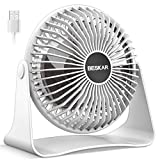 BESKAR USB Small Desk Fan -2020 New, 6 Inch Portable Fans with 3 Speeds Strong Airflow, Quiet Operation and 360°Rotate, Personal Table Fan for Home,Office, Bedroom- 3.9 ft Cord / White