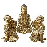 Juego de 3 figuras de Buda sentadas, 18 cm de altura, resina de color dorado
