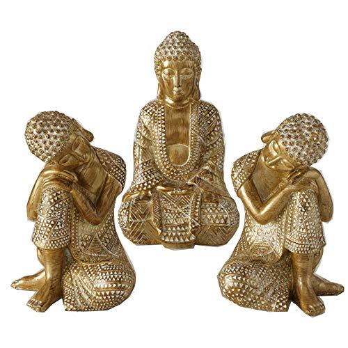 Juego de 3 figuras de Buda sentadas, 18 cm de altura, resina...