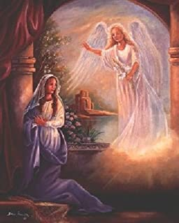 Wall Decor Mary with Angel Religious Art Print Poster (16x20)