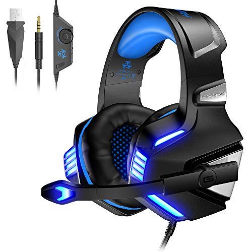 VersionTech Casque Gaming pour PS4 PS5 PC Xbox One, Casque Gamer Audio Anti-Bruit Filaire avec Micro et LED pour Nintendo Switch, Macbook, Ordinateur Portable - Bleu