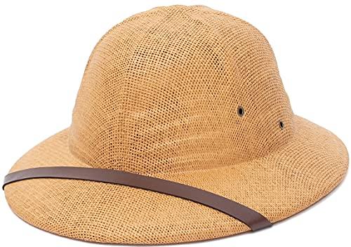 EOZY Safari British Casco Gorra de Caza para Hombre,Sombreros de Caza -Sombrero de Disfraz Pesca Senderismo Jardinera Adulto,French Pith Hat (56-60 cm, Camello)