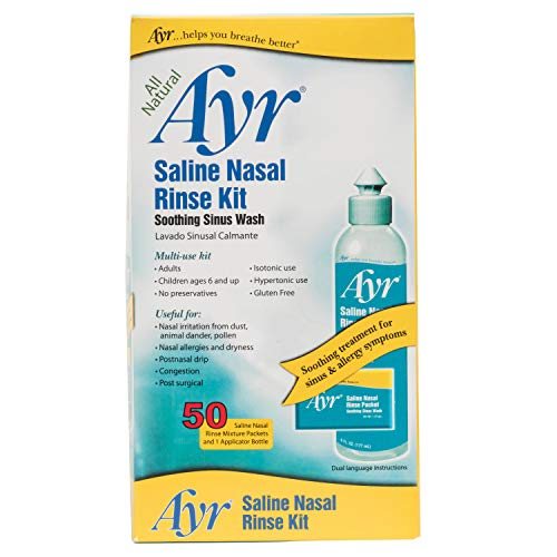 Ayr Saline Nasal Rinse Kit Soothing Sinus Wash, 50 Count Saline Nasal Rinse Mixture Packets Plus Applicator Bottle