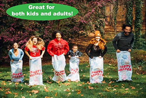 """8 Pack - Durable Potato Sack Race Bags, No Weird Burlap Odors or Messy Fibers, Great for Kids and Adults, 23.5"""" x 41"""" Tough Interwoven Plastic, Birthday Party and Outdoor Games, Gunny Sack Races"""