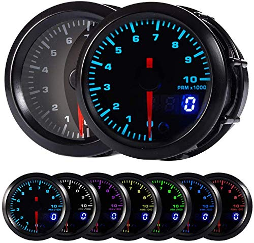 HOTSYSTEM 7 Color Tachometer Gauge Kit 0 to 10,000 RPM for 4-6-8 Cylinder Gas Powered Engines Pointer & LED Digital Readouts 2-1/16' 52mm Black Dial for Car Truck