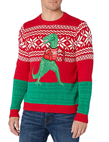 Blizzard Bay Men's Ugly Christmas Sweater Dinosaur, Red/Green, Large