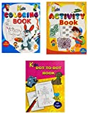 Set of 3 Books A4 Size Kids Books - Includes Coloring Books, Activity Books, Dot-to-Dot Books