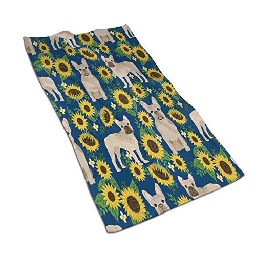 Frenchie Dog Sunflower Hand Towel Yoga Gym Kitchen Towels Spa Absorbent for Bathroom Hotel Home Decor 27.5 X 15.7 Inch