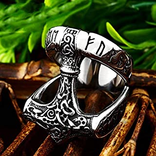 dfhdrtj Voyantes Neuf Nordique 316L Acier Inoxydable Bague Mythologie Viking Boussole Corbeau Hommes Bague Punk Motard Bijoux