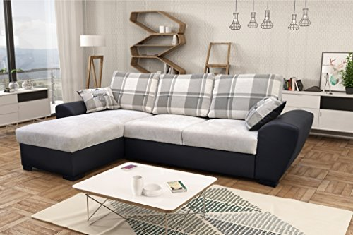 Alabama Corner Sofa Bed Black and Grey or Brown and Cream Fabric Leather With Storage (Left, Grey/Black)