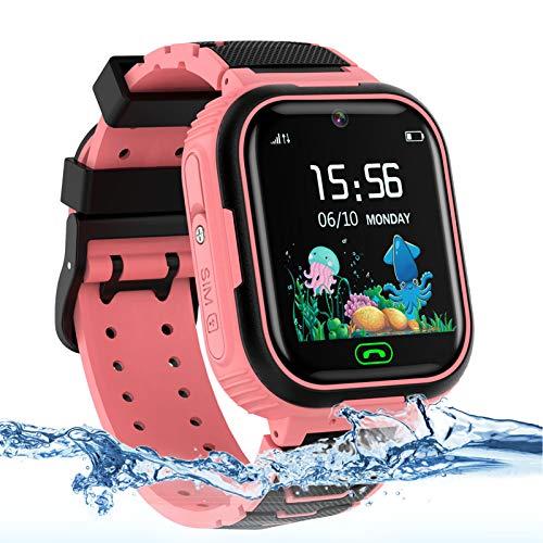 AOYMJRS Kinder Smartwatch, Tracker Smartwatch für Kinder LBS Telefon Wasserdicht IP67 Handyuhr Smart Watch Anruf Chat Wecker Digitales Spiel, Männer und Frauen Geburtstags