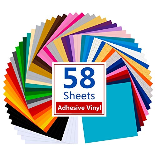 Tinzonc Permanent Adhesive Backed Vinyl 58 Sheets(12''x12'')- 41 Assorted Colors Self Craft Adhesive Vinyl Paper for Cutters-Sticker Vinyl Bundle(58 Sheets)