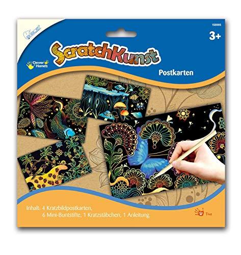 MAMMUT 158005 – repbilder Scratchkonst, motiv vykort, komplett set med 4 repkort, färgpennor, repor och instruktion, skrapa, repset för barn från 3 år