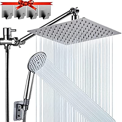 Shower Head, DUSASA 8'' High Pressure Rainfall Shower Head/Handheld Shower Combo with 11'' Extension Arm, 5 Settings Adjustable Anti-leak Shower Head with Holder/Hose, Height/Angle Adjustable, 4 Hooks