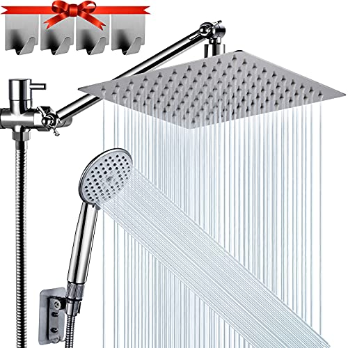 Shower Head, NERDON 8'' High Pressure Rainfall Shower Head, Handheld Shower Combo with 11'' Extension Arm, 5 Spray Settings Anti-Leak Shower Head with Holder, Hose, Height/Angle Adjustable, 4 Hooks