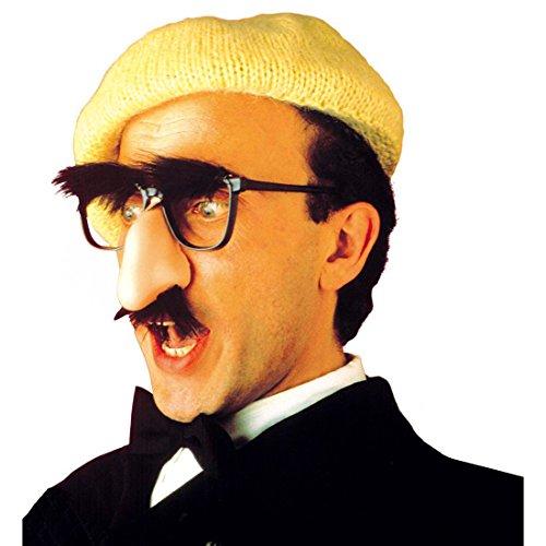 NET TOYS Brille mit Nase und Bart Groucho Nasenbrille Maske schwarz-hautfarben Spaßbrille Brillenmaske Lustige Brille
