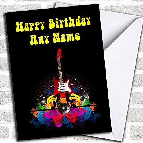 Retro Muziek Gitaar Verjaardagskaart Met Envelop, Kan Volledig Gepersonaliseerd, Verzonden Snel & Gratis
