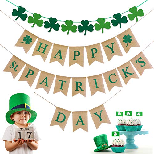 Jovitec Happy St. Patrick's Day Burlap Banners with Felt Shamrock Bunting Garland Clover Banner for St. Patrick's Day Decorations