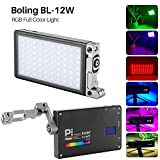 Boling BL-P1 12W RGB Eingebauter Akku Led auf Kamera-Videoleuchte Pocket Size Bi-Color 2500K-8500K...