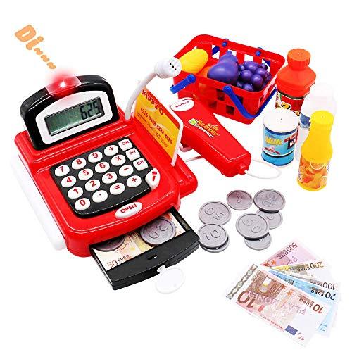 Kaufmannsladen Kasse Kaufladen Kinder Spielzeug Registrierkasse mit Elektronischem Taschenrechner Scanner und Spielgeld Rollenspiel ab 3 4 5 Jahren